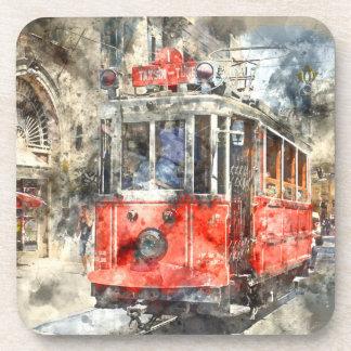 Rot-Laufkatze Istanbuls die Türkei Untersetzer