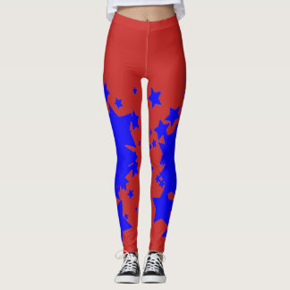 Rot mit blauer Stern-Gamaschen Leggings