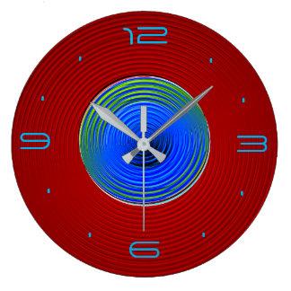 Rot mit grün-blauer Wirbler Glühen Centre>Wall Uhr