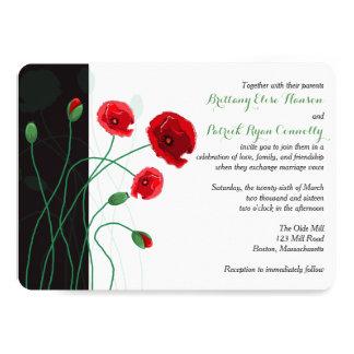 Rot-Mohnblumen der Hochzeits-Einladungs-| mit dem 12,7 X 17,8 Cm Einladungskarte