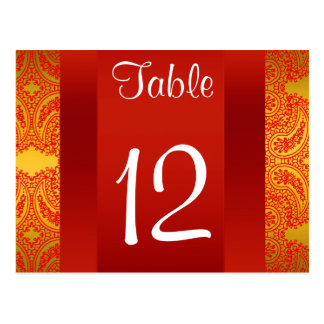 Rot-Paisley-Tischnummer NY StadtSkyline BW 112 Postkarte