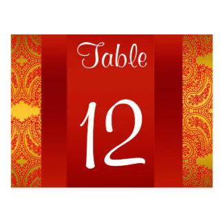 Rot-Paisley-Tischnummer NY StadtSkyline BW 112 Postkarten