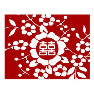 Rot • Papier-Schnitt-Blumen • Doppeltes Glück Postkarte
