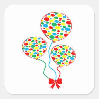 Rot, pickelig, bunt, Ballonaufkleber Quadratischer Aufkleber