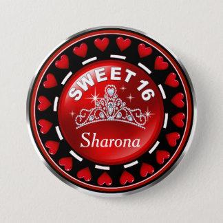 Rot Prinzessin Tiara Love Hearts | des Bonbon-16 Runder Button 7,6 Cm