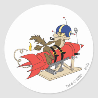 Rot Rocket Wile E. Coyote Launching Runder Aufkleber