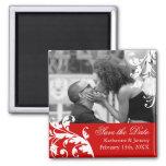 Rot Save the Date, das Magneten Wedding ist Quadratischer Magnet