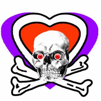 Rot schaut Schädel-Herz u. Knochen-Weiß das MUSEUM Fotoskulptur Button