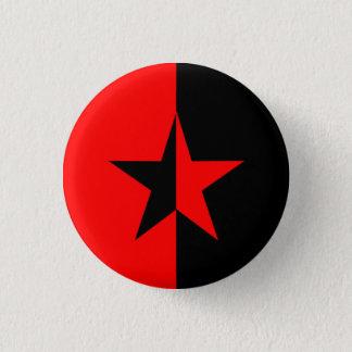 Rot-/Schwarz-Stern Runder Button 3,2 Cm