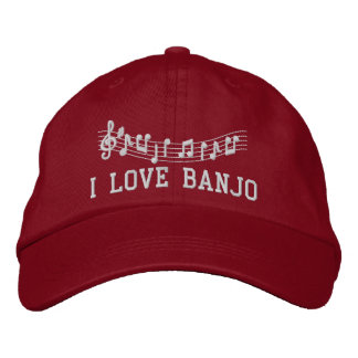 Rot stickte i-Liebe-Banjo-Hut Bestickte Kappe