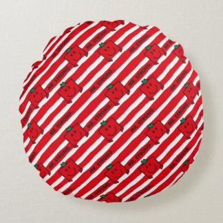 Rot-Streifen-Muster Herr-Strong | Rundes Kissen