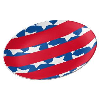 Rot Stripes Flagge-Porzellan-Platte Teller