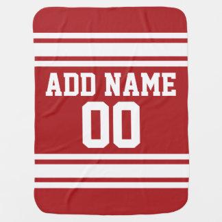 Rot trägt Jersey mit Ihrem Namen und Zahl zur Puckdecke
