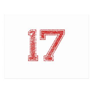 Rot trägt Jerzee Nr. 17 zur Schau Postkarte