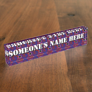 Rot-u. Blau-gewundenes Schreibtisch-Nummernschild Namensplakette