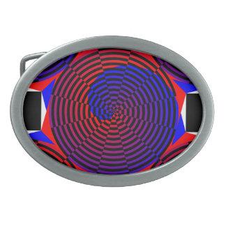 Rot-u. Blau-Spirale durch Kenneth Yoncich Ovale Gürtelschnalle