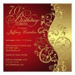 Rot u. Gold70. Geburtstags-Party Einladung
