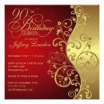 Rot u. Gold90. Geburtstags-Party Einladung