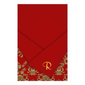 Rot u. Goldextravagante gefaltete barocke Hochzeit Briefpapier