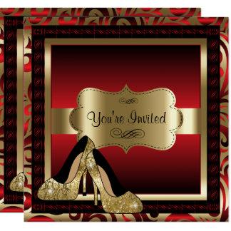 Rot u. Goldhohe Heels-Geburtstags-Einladung Karte