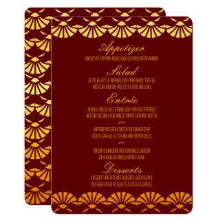Rot u. Goldkunst-Deko-Art-Hochzeits-Menü Karte