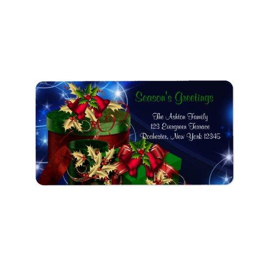 Rot-u. Grün-Geschenk-blaue Weihnachtsadressen-Etik Adressetikett