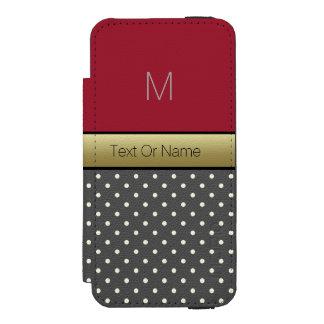 Rot-u. Polka-Punkte des Name-Monogram.Spacy Incipio Watson™ iPhone 5 Geldbörsen Hülle