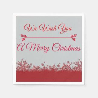Rot u. silbern wünschen wir Ihnen eine frohe Papierserviette