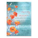Rot u. Türkis-Mohnblumen-formale Blumenhochzeit Personalisierte Ankündigungskarte