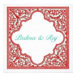 Rot u. Türkis-Vintage Rahmen-Hochzeits-Einladung