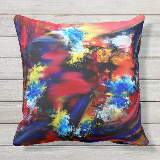 Rot und blaue Bürsten-Anschläge Kissen Für Draußen