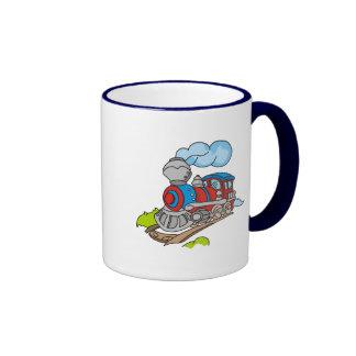 Rot und blaue Zug-T-Shirts und Geschenke Ringer Tasse
