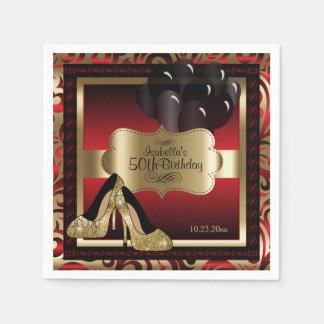 Rot und Gold metallisch - 50. Text des Papierservietten