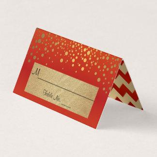 Rot und Gold Zickzack und Confetti-Punkte 2 Platzkarte