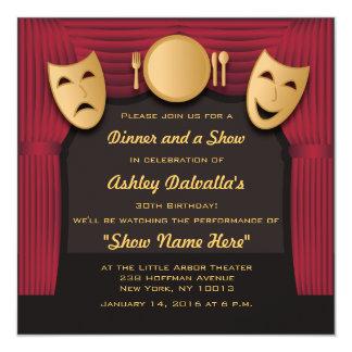 Rot-und Goldabendessen-Theater-Party Einladungen