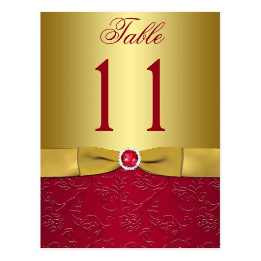 Rot und GoldblumenTischnummer-Postkarte