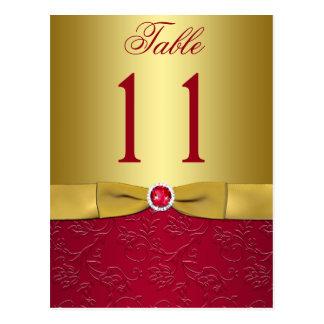 Rot und GoldblumenTischnummer-Postkarte Postkarten