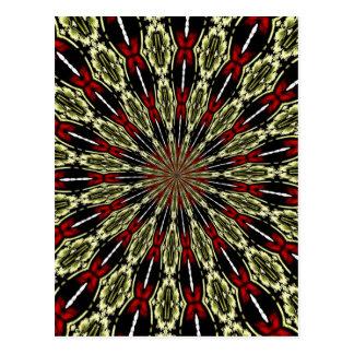 Rot und GoldBuntglas-Fenster-Kaleidoskop Postkarte