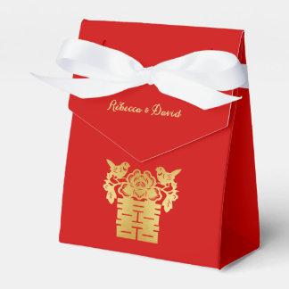 Rot und Goldchinesische Liebe-Vogel-doppeltes Geschenkschachtel
