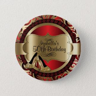 Rot und Goldgeburtstag mit Goldhohem Heels Runder Button 5,1 Cm