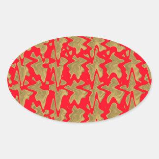 Rot und GoldGoodluck Drucke Ovaler Aufkleber