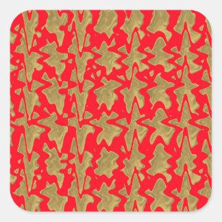 Rot und GoldGoodluck Drucke Quadratischer Aufkleber