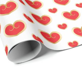 Rot-und Goldherzen - Valentinsgruß Geschenkpapier