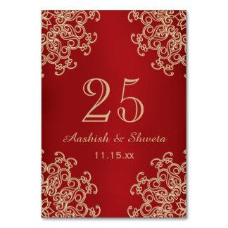 Rot und Goldindische Art-Hochzeits-Zahl Karte