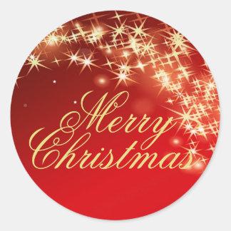 Rot und Goldstern-frohe Weihnacht-Umschlag Runder Aufkleber