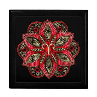 Rot und Goldtierkreis-Zeichen-Widder-Mandala Erinnerungskiste