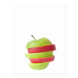 Rot und Grün geschnittener Apfel Postkarte