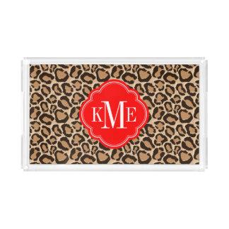 Rot und Leopard-Druck-Gewohnheits-Monogramm Acryl Tablett