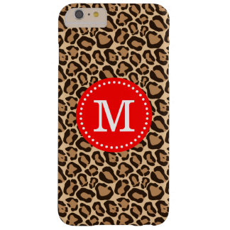 Rot und Leopard-Druck-Gewohnheits-Monogramm Barely There iPhone 6 Plus Hülle