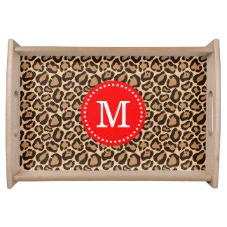 Rot und Leopard-Druck-Gewohnheits-Monogramm Serviertablett